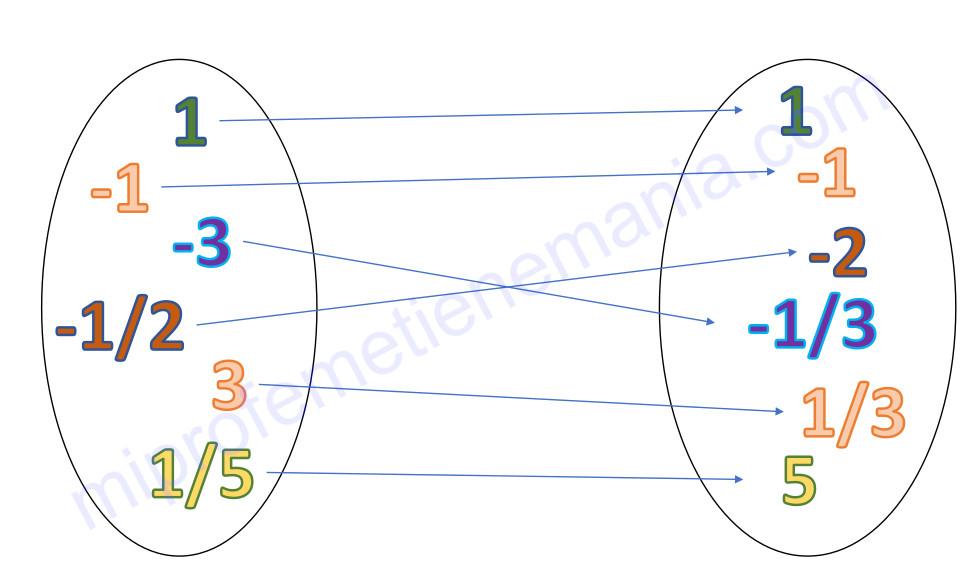 Esquema que representa la aplicación (función) que relaciona el conjunto de los números reales con su inverso (a excepción del 0).